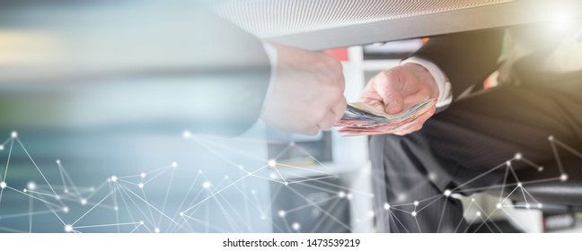 Businessman giving money under a table; multiple exposure