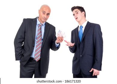 Businessman giving some money to another businessman
