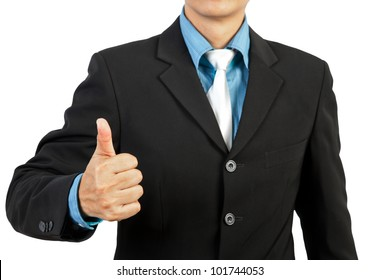 businessman giving you thumbs up on white background
