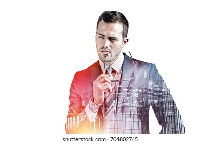 Businessman with glasses thinking isolated over white double exposure