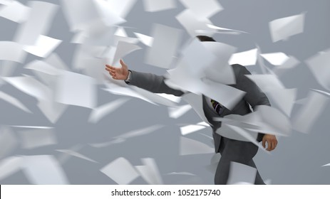 businessman going against the paper wind, 3d illustration
