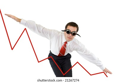 Businessman going down along a chart - isolated