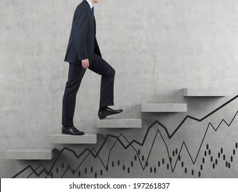 Businessman going up and line graphs.