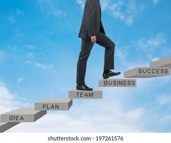 Businessman going up. Sky background.