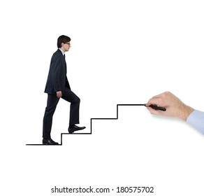 Businessman is going upstairs