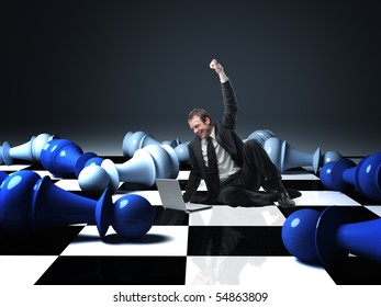 businessman got success on virtual chess