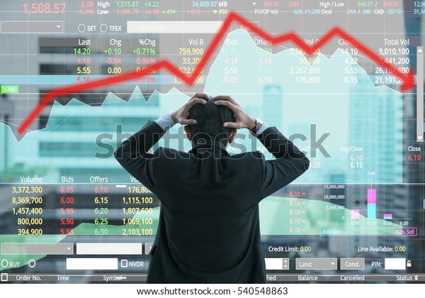 Businessman grabs the head concept with business chart on scoreboard