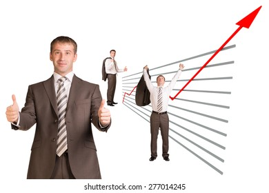 Businessman and graphical chart on isolated white background