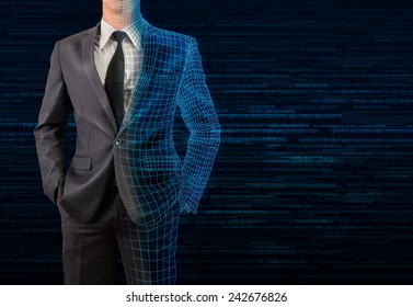 businessman in gray suit transforming to 3D wire frame and digital background