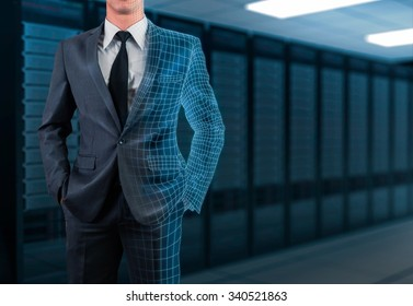 businessman in gray suit transforming to 3D wireframe with server room background