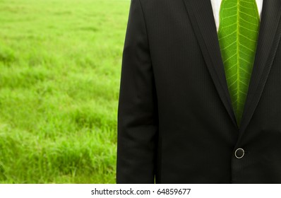 Businessman with green leaf tie on the grass field