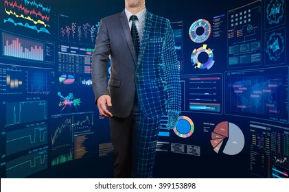 businessman with half wire frame body with  technology screen backgrouund