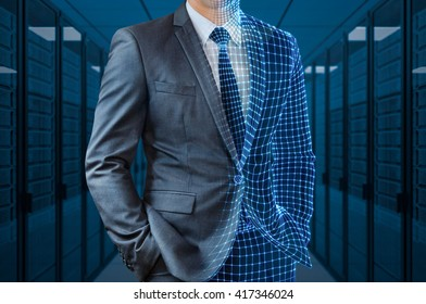 businessman with half wire frame in server room