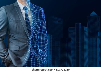 businessman with half wire frame skin standing in front of wire frame building