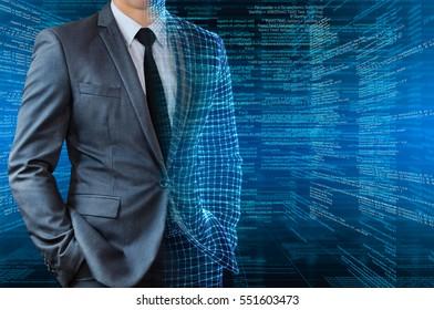 businessman with half wire frame skin with digital background