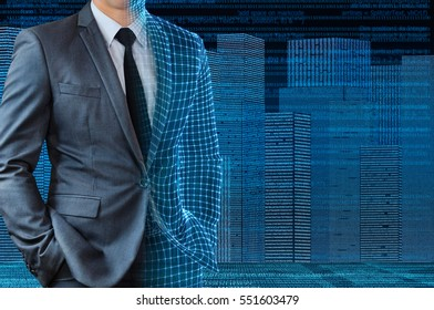 businessman with half wire frame skin with digital building background