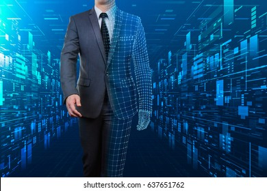 businessman with half wire frame walking through abstract digital cyberspace