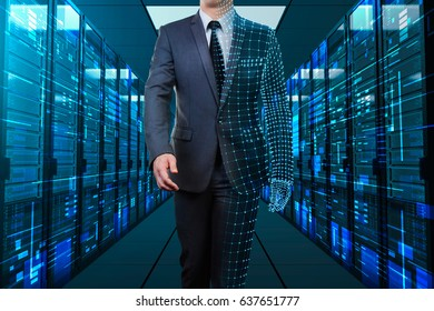businessman with half wire frame walking through server room
