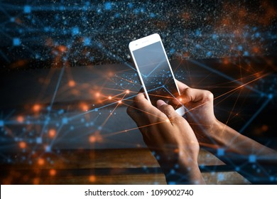 businessman hand with ai smartphone online to social network internet, touch on screen of device to connect to global cyber net, digital life link to data information social, internet of things online
