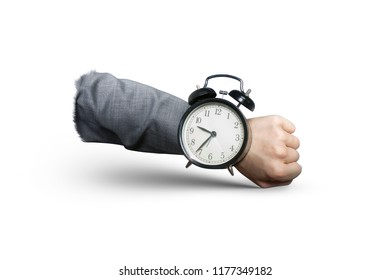 Businessman hand with alarm clock