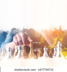 businessman hand control chess play figure business strategy manage ideas concept retro image tone