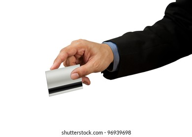 businessman and hand with credit card swipe on white background
