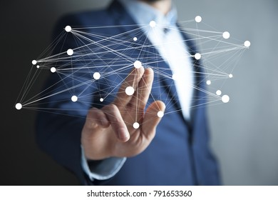 Businessman hand digital data network
