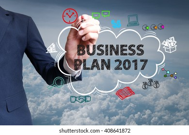 businessman hand draw cloud , icon cartoon with BUSINESS PLAN 2017  text