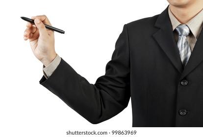 businessman hand drawing