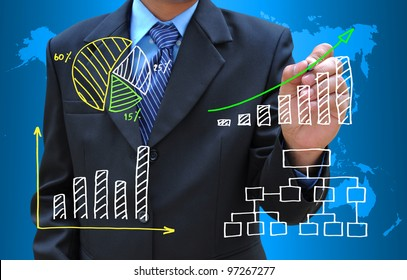 businessman hand drawing business graph and diagram