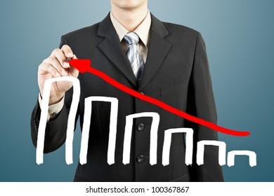 businessman hand drawing chart graph