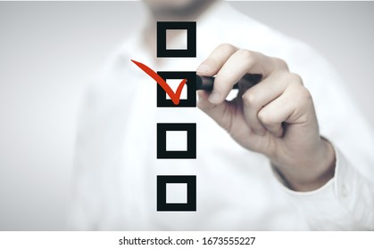 Businessman hand drawing check box. Business and financial success concept.