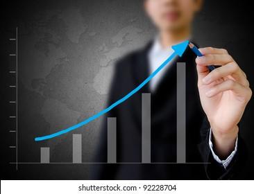 businessman hand drawing a graph.
