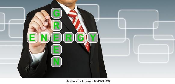 Businessman hand drawing Green Energy