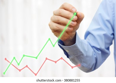 businessman hand is drawing growing green line, growth concept,beat competition
