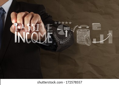 businessman hand drawing passive income touch screen computer as concept