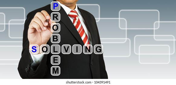 Businessman hand drawing Problem Solving