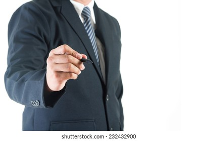 Businessman hand drawing in a whiteboard, Copy space for design work