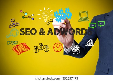 businessman hand drawing and writing SEO & ADWORDS on yellow background , business concept