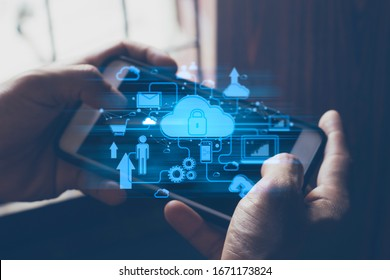 businessman hand finger touch on screen smartphone device for connecting to social network bandwidth internet digital big data safety security cloud storage ai