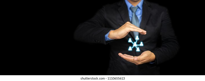 Businessman hand with global structure data exchanges customer network connection icon, employees human resources, employment agency marketing segmentation of Leader manage teamwork concept