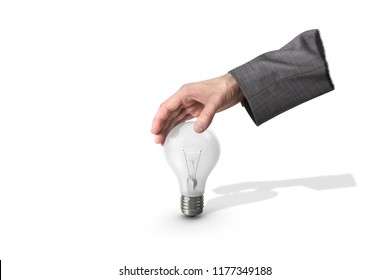 Businessman hand grapping light bulb