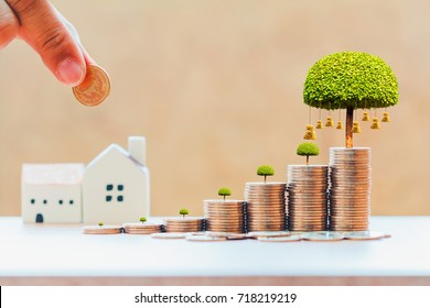 Businessman hand hold a coin to stack and money bag of tree with grow and home for family in office, Business investment loan for real estate or save money for buy new house in the future concept.