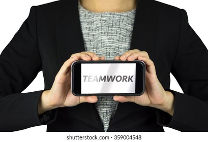 Businessman hand hold smart phone with message teamwork