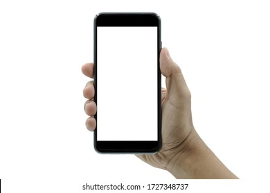 Businessman hand holding black smartphone isolated on white background, white clipping path inside.