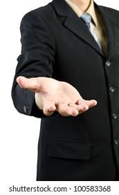 Businessman hand holding blank