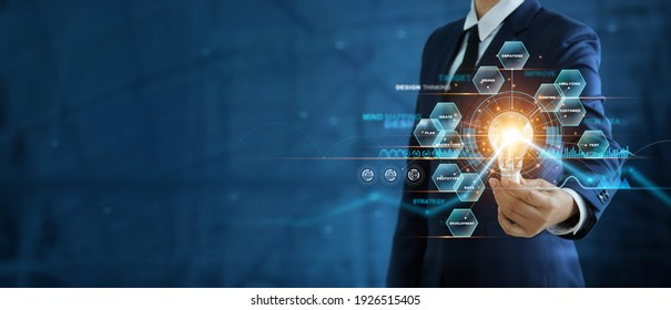 Businessman hand holding creative light bulb with marketing network icons on planning strategy, analysis solution and development, Modern business, Innovative of new ideas.  - Shutterstock ID 1926515405
