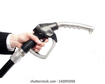 businessman hand holding a fuel pump