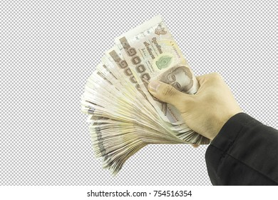 Businessman hand holding money and Man holding a wallet isolated on white background with clipping path.