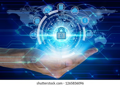 Businessman hand holding network using padlock over the Network connection technology,Technology Concept.